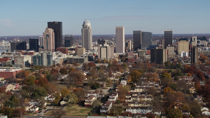 5.7K stock footage aerial video of slowly flying by the city's skyline, seen from apartment buildings, Downtown Louisville, Kentucky Aerial Stock Footage | DX0001_002981