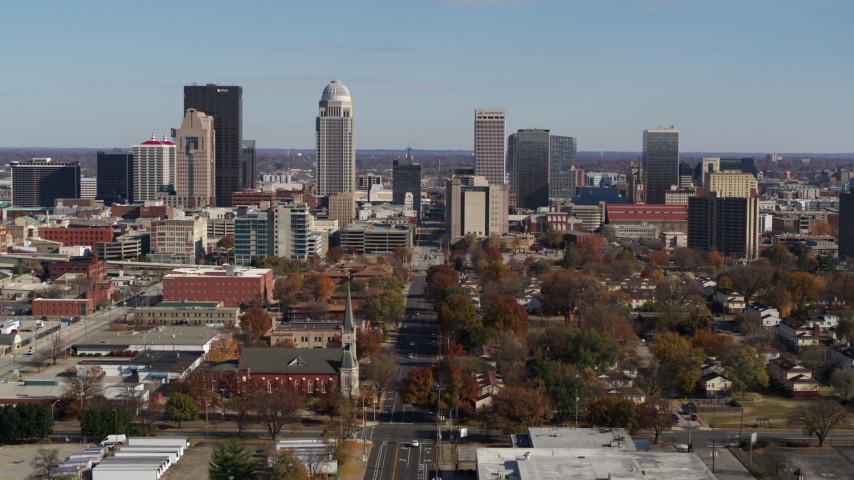 5.7K stock footage aerial video ascend and approach the city's skyline, Downtown Louisville, Kentucky Aerial Stock Footage | DX0001_002983