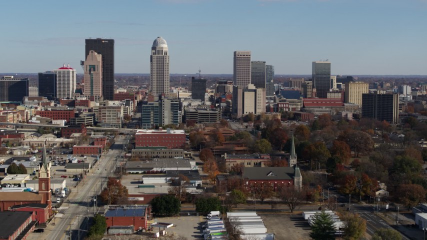 5.7K aerial video a view of the city's skyline, seen during descent in Downtown Louisville, Kentucky Aerial Stock Footage | DX0001_002985