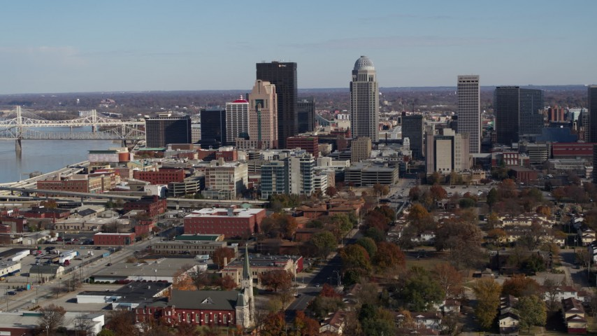 5.7K stock footage aerial video ascend and flyby the city's skyline in Downtown Louisville, Kentucky Aerial Stock Footage | DX0001_002986