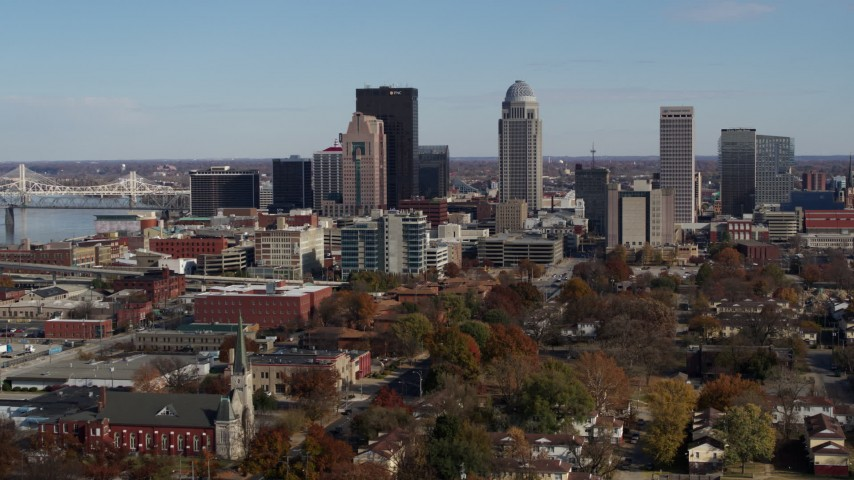 5.7K aerial video ascend and approach skyscrapers in the city's skyline in Downtown Louisville, Kentucky Aerial Stock Footage | DX0001_002988