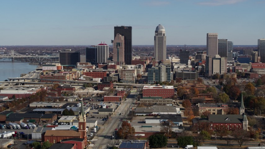 5.7K aerial video flyby skyscrapers in the city's skyline in Downtown Louisville, Kentucky Aerial Stock Footage | DX0001_002992