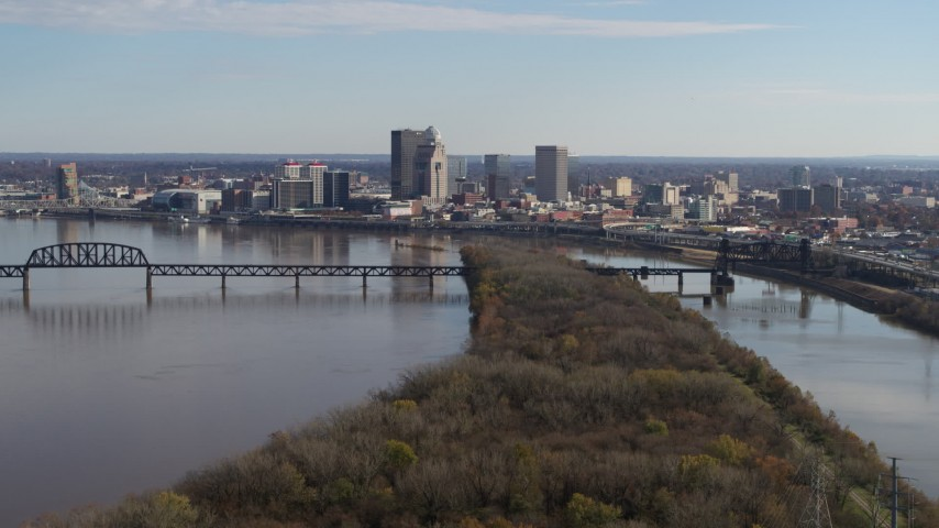 5.7K aerial video of the city's skyline beside the river in Downtown Louisville, Kentucky Aerial Stock Footage | DX0001_003001