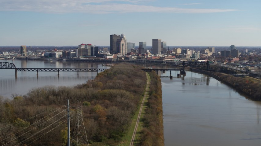 5.7K aerial video of a view of the city's skyline beside the river in Downtown Louisville, Kentucky Aerial Stock Footage | DX0001_003002