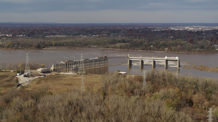 5.7K aerial video a dam on the Ohio River in Louisville, Kentucky Aerial Stock Footage DX0001_003008