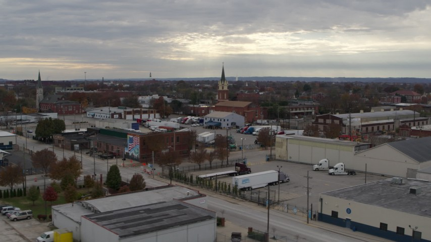 5.7K stock footage aerial video of a small church and steeple in Louisville, Kentucky Aerial Stock Footage DX0001_003035 | Axiom Images