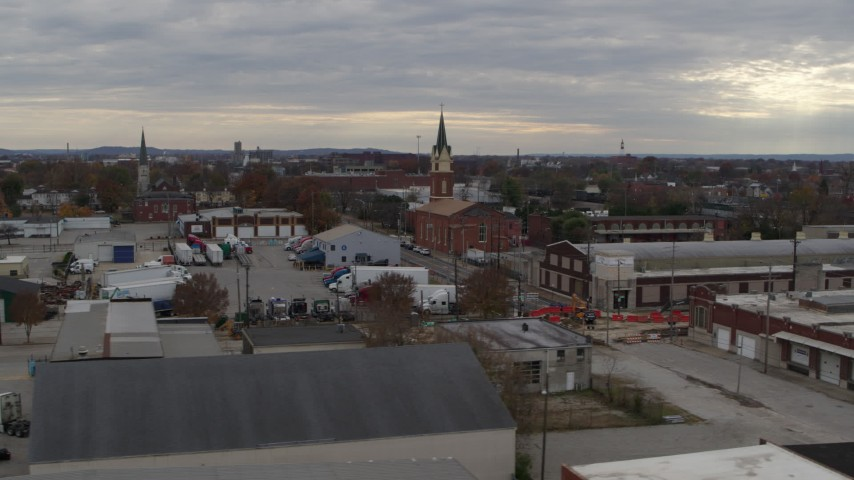 5.7K stock footage aerial video of a small church and steeple in an industrial area, Louisville, Kentucky Aerial Stock Footage | DX0001_003036