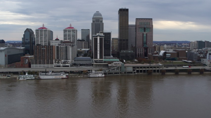 5.7K stock footage aerial video stationary view of the skyline seen from the river in Downtown Louisville, Kentucky Aerial Stock Footage | DX0001_003039