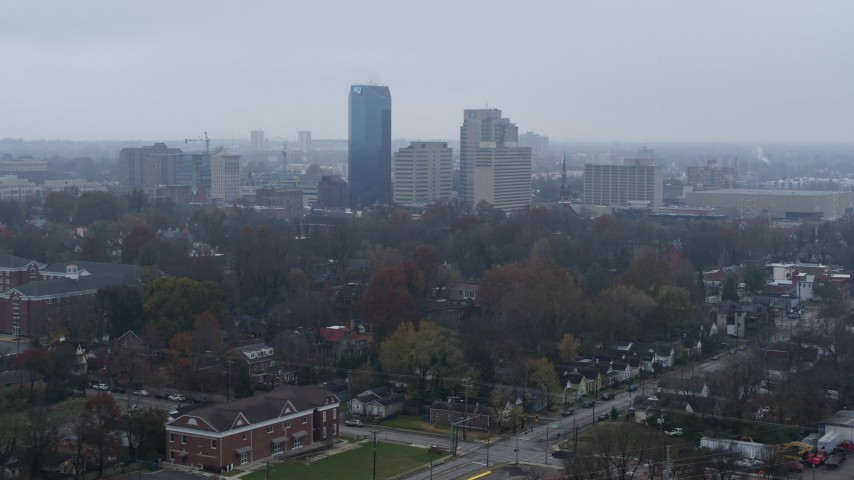 5.7K stock footage aerial video of the city skyline seen from residential neighborhoods, Downtown Lexington, Kentucky Aerial Stock Footage | DX0001_003205