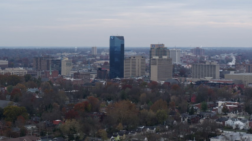 5.7K stock footage aerial video of the city's skyline while ascending, Downtown Lexington, Kentucky Aerial Stock Footage   DX0001_003211