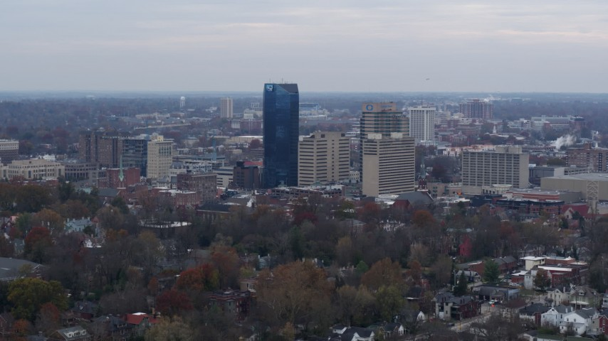 5.7K stock footage aerial video a stationary view of the city's skyline, Downtown Lexington, Kentucky Aerial Stock Footage | DX0001_003212