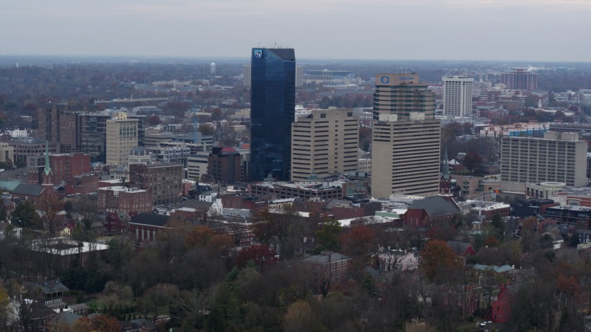 5.7K stock footage aerial video slowly passing the city's skyline in Downtown Lexington, Kentucky Aerial Stock Footage | DX0001_003216