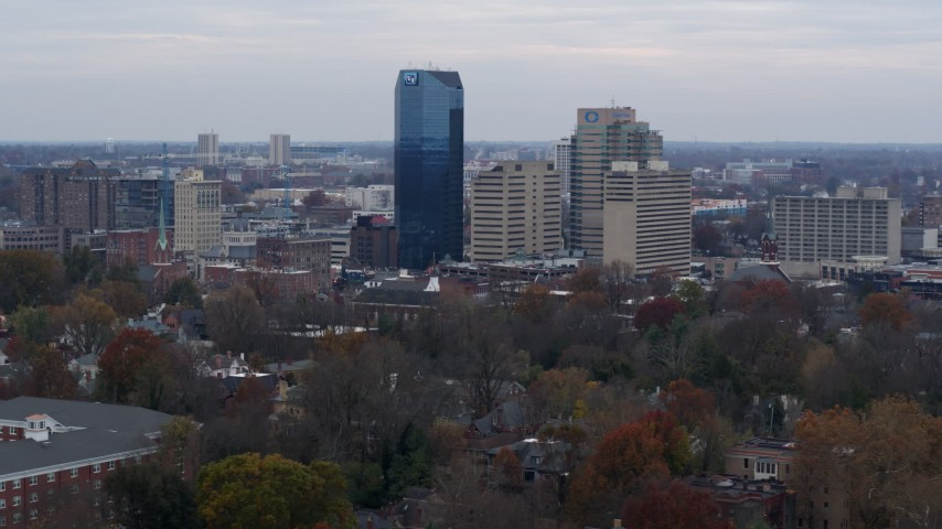 5.7K stock footage aerial video descend and slowly pass the city's skyline in Downtown Lexington, Kentucky Aerial Stock Footage | DX0001_003217