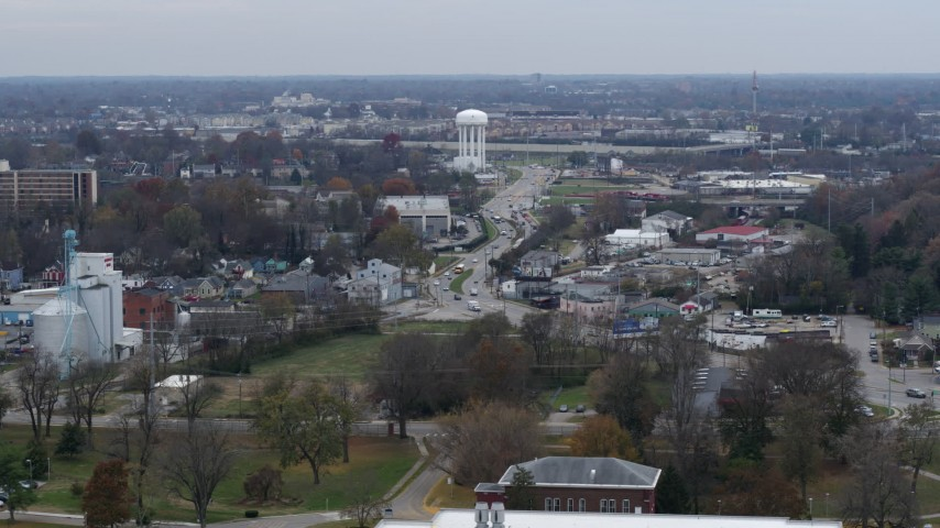 5.7K stock footage aerial video flyby busy street in industrial area near water tower in Lexington, Kentucky Aerial Stock Footage   DX0001_003221
