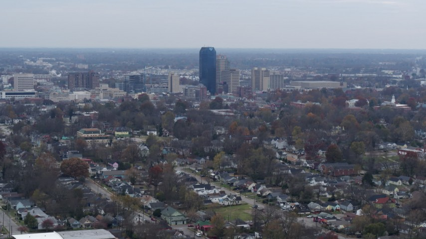 5.7K stock footage aerial video stationary view of city skyline from neighborhoods, Downtown Lexington, Kentucky Aerial Stock Footage | DX0001_003227
