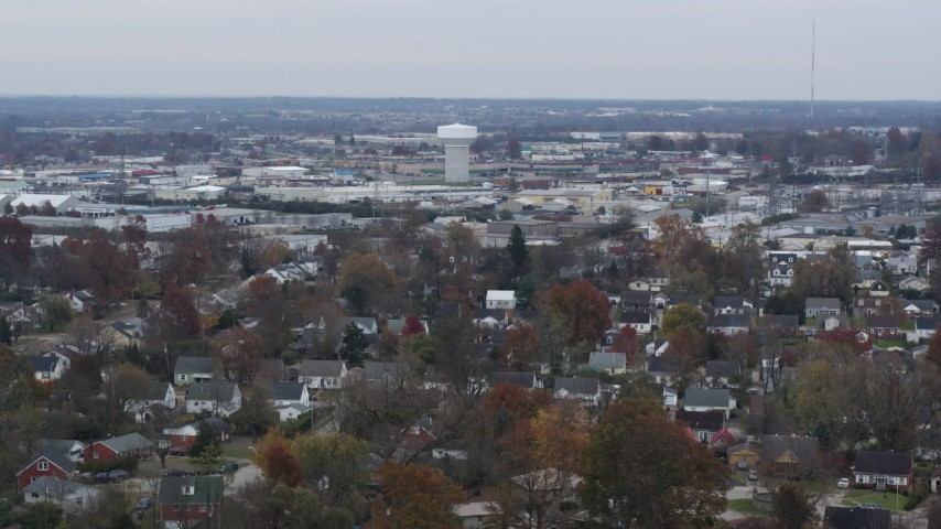 5.7K stock footage aerial video of a water tower surrounded by warehouse buildings in Lexington, Kentucky Aerial Stock Footage   DX0001_003236
