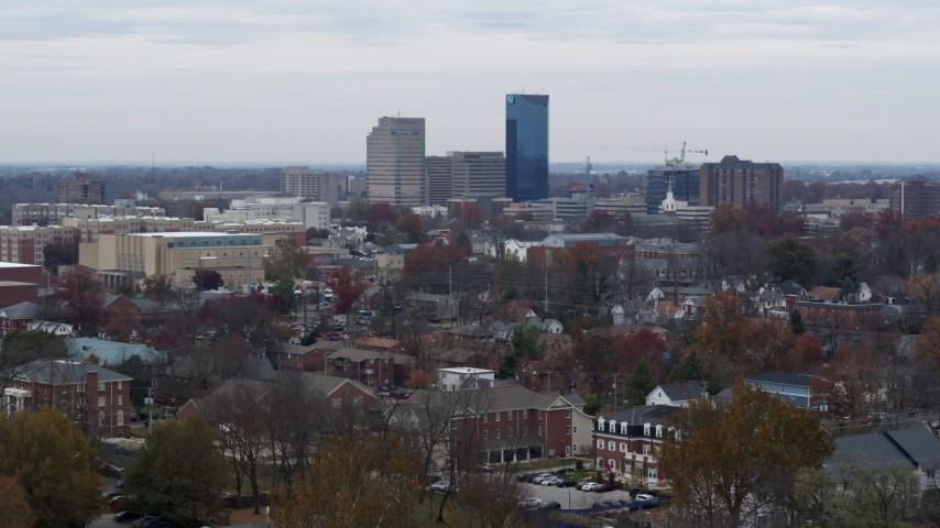 5.7K stock footage aerial video ascend while focused on the city's skyline in Downtown Lexington, Kentucky Aerial Stock Footage | DX0001_003239