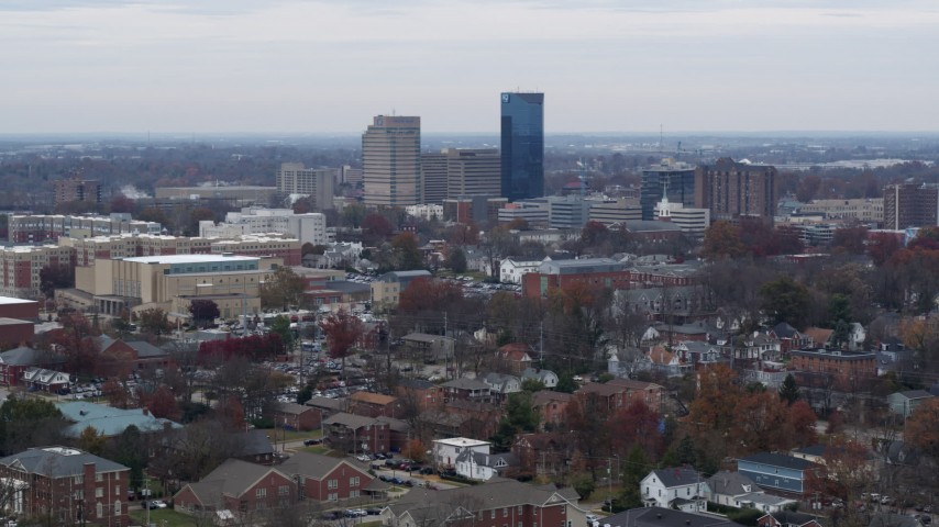 5.7K stock footage aerial video a stationary view of the city's skyline in Downtown Lexington, Kentucky Aerial Stock Footage | DX0001_003240