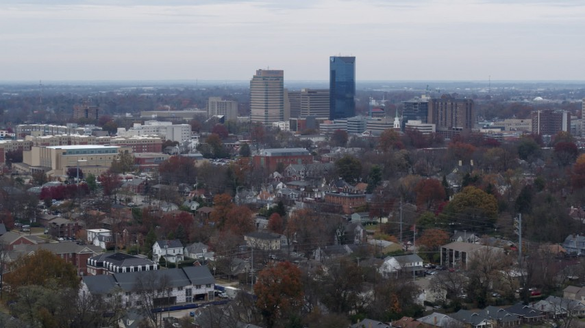 5.7K aerial video of skyscrapers in the city skyline of Downtown Lexington, Kentucky Aerial Stock Footage | DX0001_003242