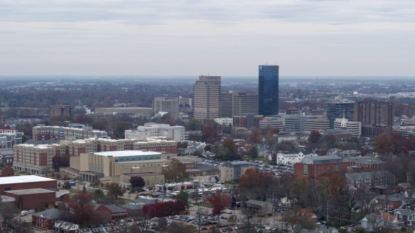 5.7K stock footage aerial video of flying by skyscrapers in the city skyline of Downtown Lexington, Kentucky Aerial Stock Footage DX0001_003243