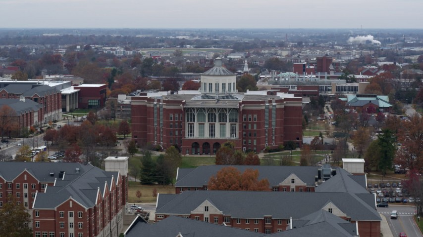 5.7K stock footage aerial video of passing by a University of Kentucky library, Lexington, Kentucky Aerial Stock Footage | DX0001_003248