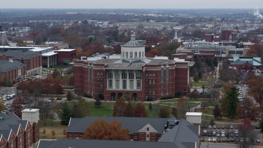 5.7K stock footage aerial video flyby and approach a University of Kentucky library, Lexington, Kentucky Aerial Stock Footage | DX0001_003249