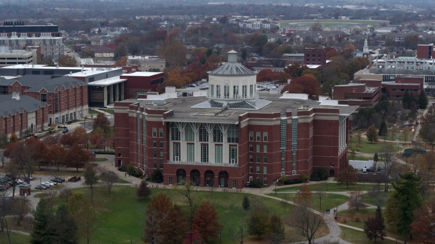 5.7K aerial video slowly passing a University of Kentucky library, Lexington, Kentucky Aerial Stock Footage | DX0001_003250