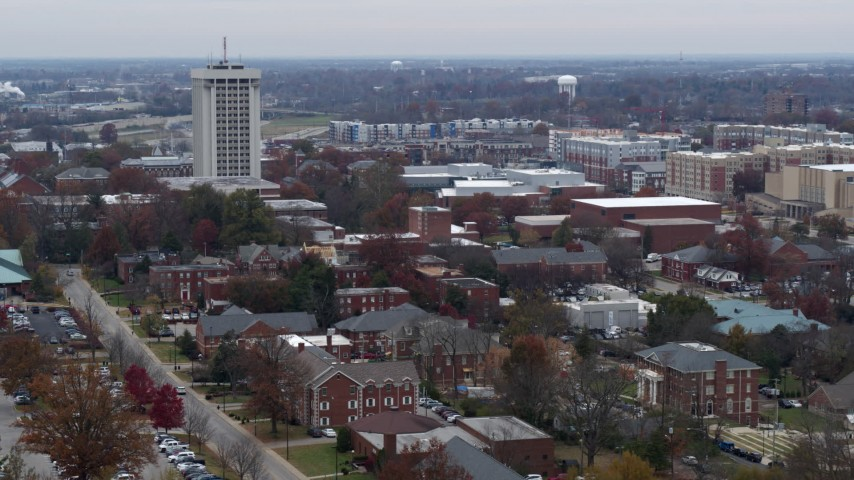 5.7K stock footage aerial video flying by the University of Kentucky campus, Lexington, Kentucky Aerial Stock Footage | DX0001_003251