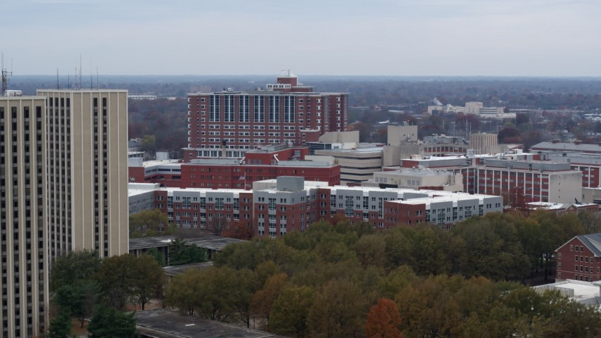 5.7K stock footage aerial video reverse view of dorms at the University of Kentucky campus, Lexington, Kentucky Aerial Stock Footage | DX0001_003253