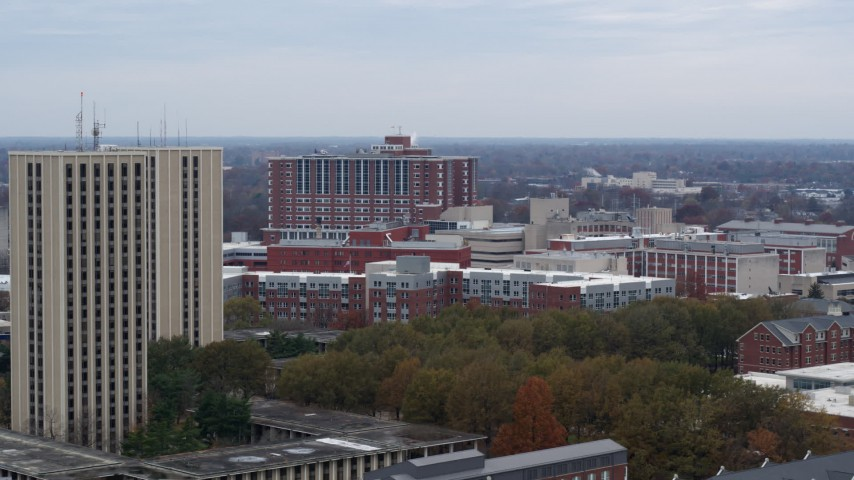 5.7K stock footage aerial video of flying by dorms at the University of Kentucky campus, Lexington, Kentucky Aerial Stock Footage | DX0001_003254