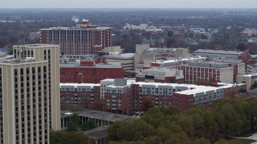 5.7K stock footage aerial video of slowly passing dorms and campus buildings at the University of Kentucky, Lexington, Kentucky Aerial Stock Footage | DX0001_003256