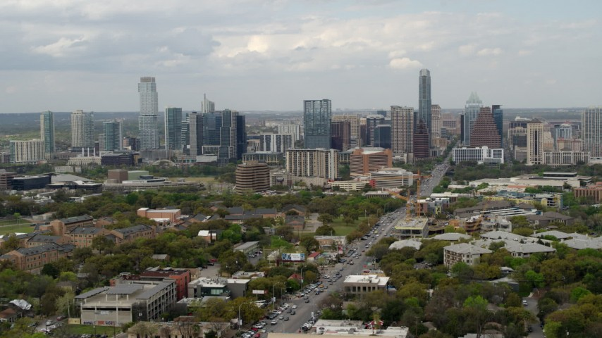5.7K stock footage aerial video a view of the Downtown Austin, Texas skyline during ascent Aerial Stock Footage | DX0002_103_017