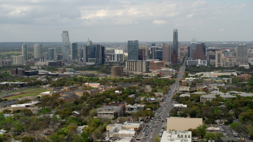 5.7K stock footage aerial video of a wide view of the city's skyline in Downtown Austin, Texas Aerial Stock Footage | DX0002_103_019