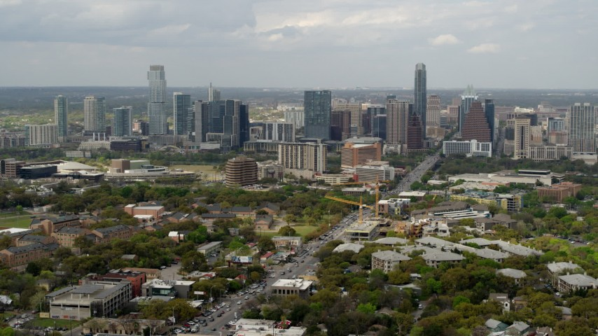 5.7K stock footage aerial video wide view of Congress Avenue leading to city's skyline in Downtown Austin, Texas Aerial Stock Footage | DX0002_103_023
