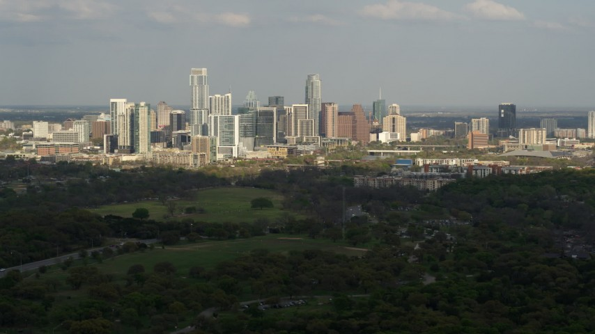5.7K stock footage aerial video of a wide view of city's towering skyline, Downtown Austin, Texas Aerial Stock Footage | DX0002_104_020
