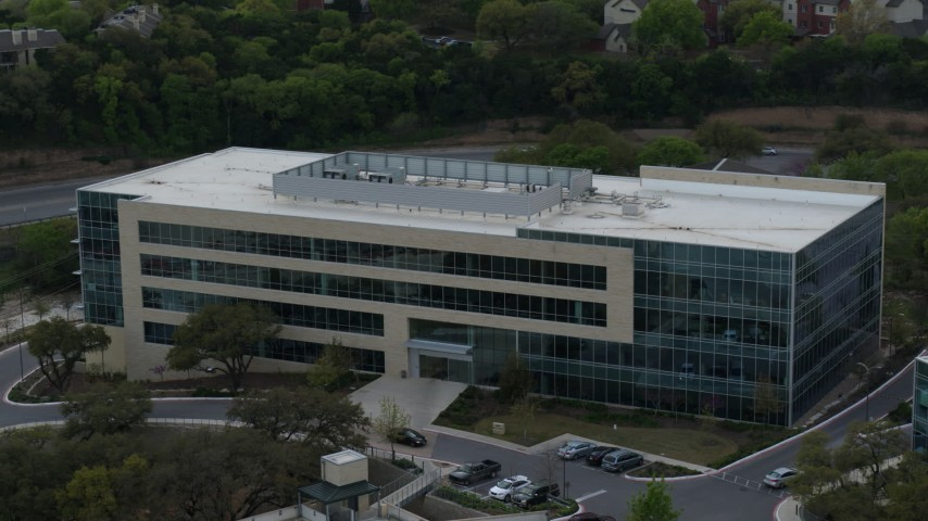5.7K stock footage aerial video of a modern office building in Austin, Texas Aerial Stock Footage | DX0002_104_025