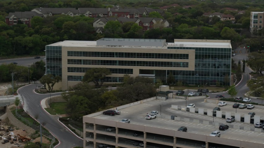 5.7K stock footage aerial video of circling a modern office building in Austin, Texas Aerial Stock Footage | DX0002_104_028