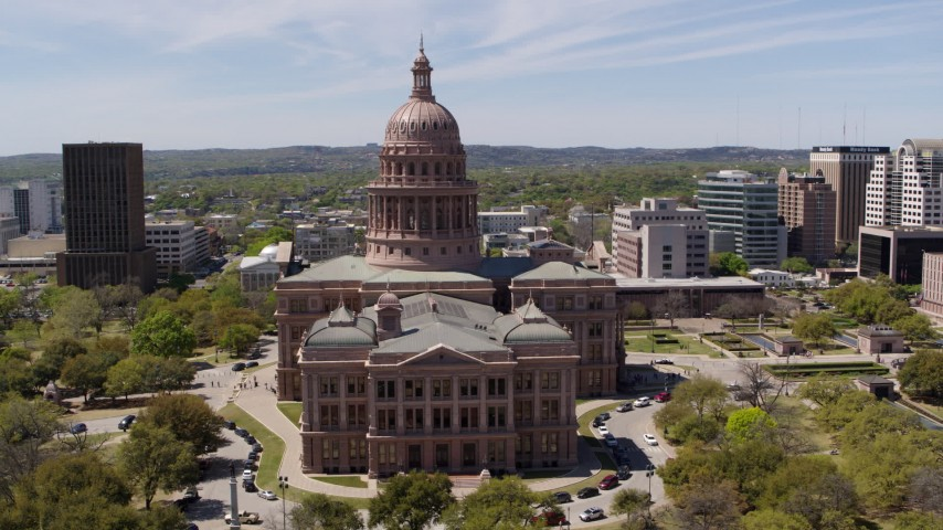 5.7K stock footage aerial video of orbiting the Texas State Capitol in Downtown Austin, Texas Aerial Stock Footage | DX0002_107_001