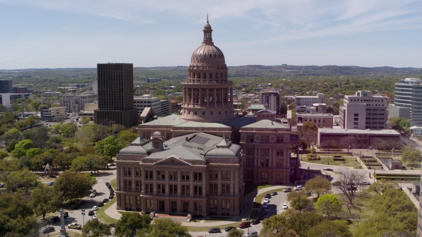 5.7K stock footage aerial video of slowly orbiting the Texas State Capitol in Downtown Austin, Texas Aerial Stock Footage | DX0002_107_002