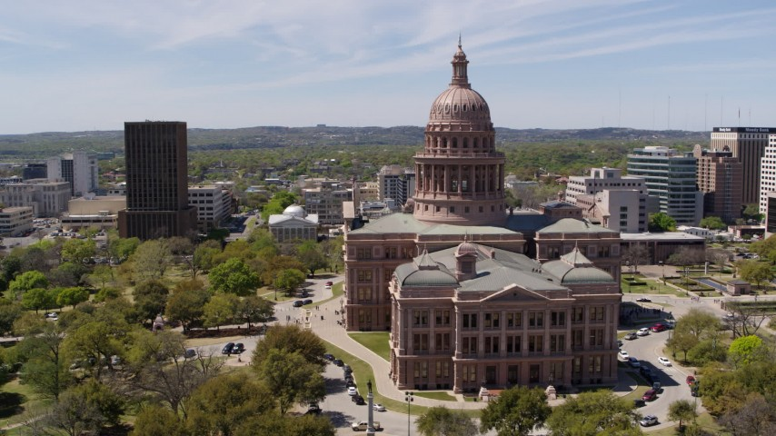 5.7K stock footage aerial video slowly orbit the Texas State Capitol in Downtown Austin, Texas Aerial Stock Footage | DX0002_107_003