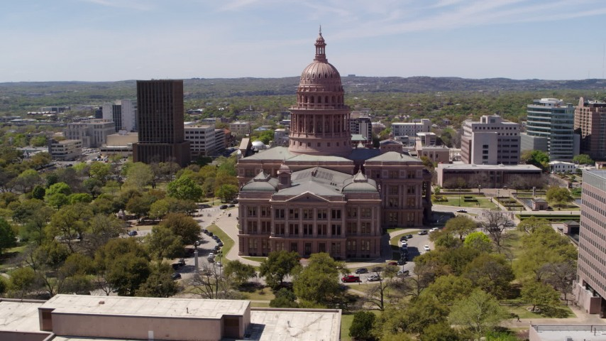 5.7K stock footage aerial video of orbiting around Texas State Capitol and grounds in Downtown Austin, Texas Aerial Stock Footage | DX0002_107_006