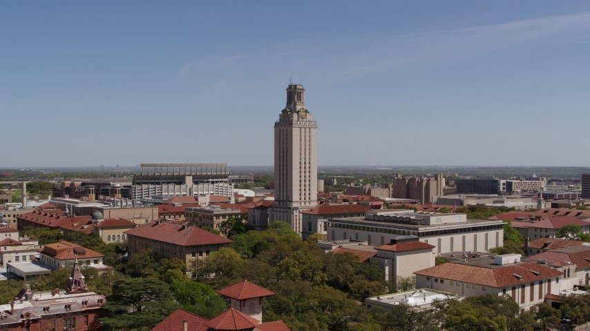 5.7K stock footage aerial video orbit UT Tower at the University of Texas during ascent, Austin, Texas Aerial Stock Footage | DX0002_107_031