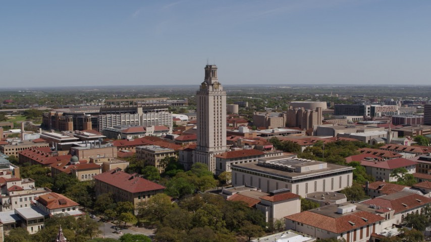 5.7K stock footage aerial video of orbiting UT Tower at the University of Texas, Austin, Texas Aerial Stock Footage | DX0002_107_032