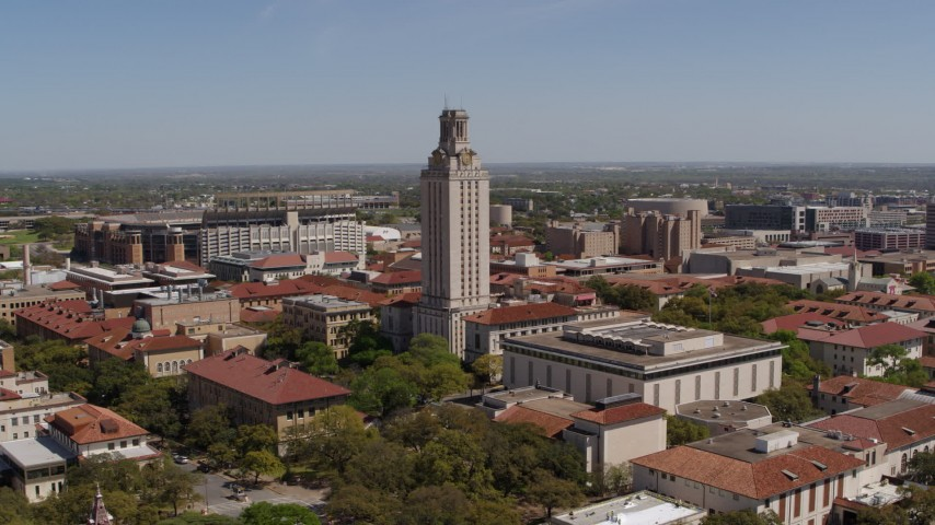 5.7K stock footage aerial video of a slow orbit around UT Tower at the University of Texas, Austin, Texas Aerial Stock Footage DX0002_107_034 | Axiom Images