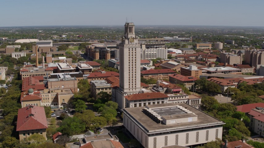 5.7K stock footage aerial video of a reverse view of UT Tower at the University of Texas, Austin, Texas Aerial Stock Footage | DX0002_107_035
