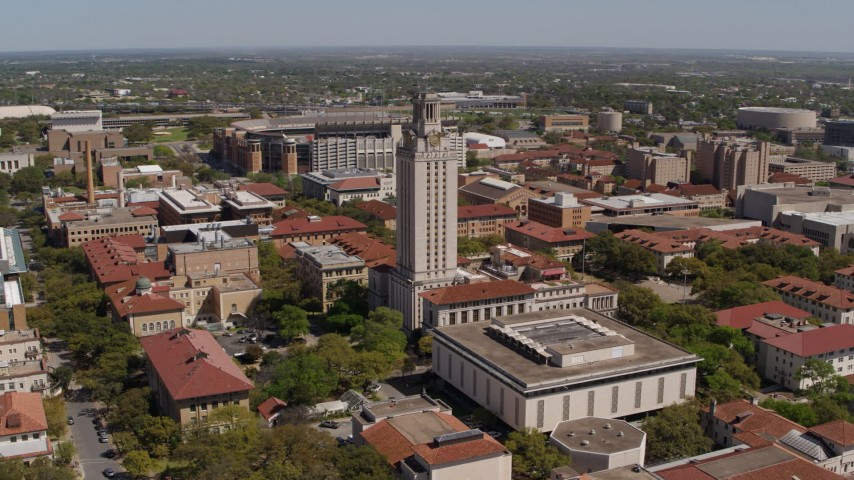 5.7K stock footage aerial video of slowly circling UT Tower at the University of Texas, Austin, Texas Aerial Stock Footage | DX0002_107_036