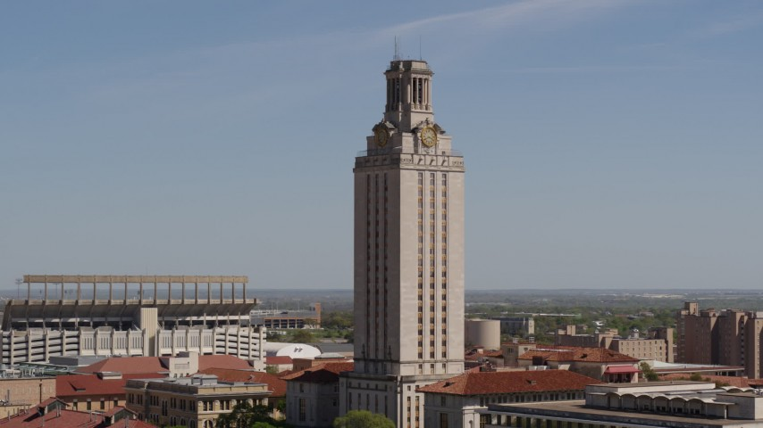 5.7K stock footage aerial video close orbit of UT Tower at the University of Texas, Austin, Texas Aerial Stock Footage | DX0002_108_001