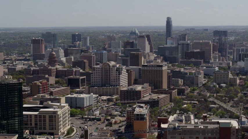 5.7K stock footage aerial video capitol, office buildings and city skyline in Downtown Austin, Texas Aerial Stock Footage | DX0002_108_004