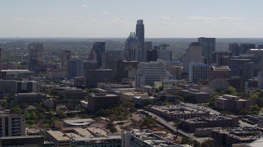 5.7K stock footage aerial video of a view of the city's skyline in Downtown Austin, Texas Aerial Stock Footage | DX0002_108_017