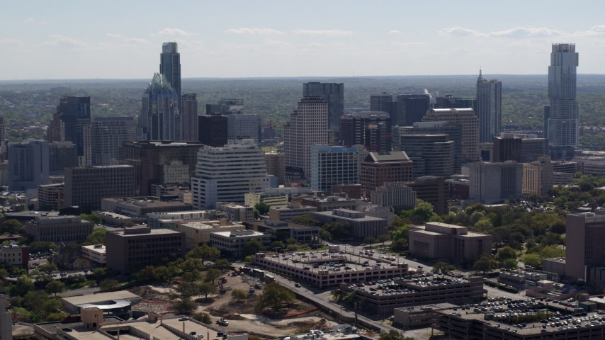 5.7K aerial video of flying away from the city's skyline in Downtown Austin, Texas Aerial Stock Footage | DX0002_108_019
